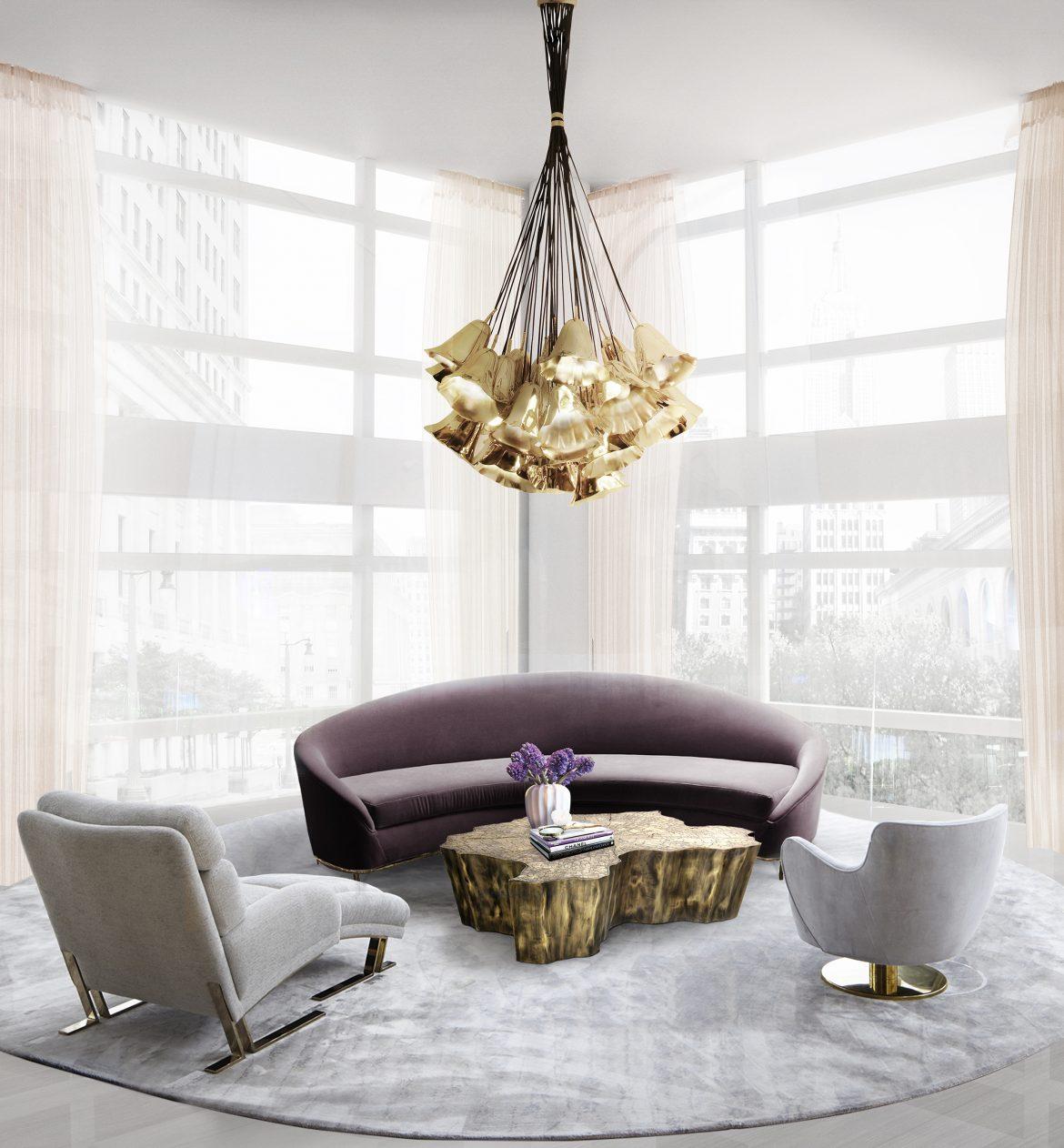 Couchtische aus Holz für einen weltoffenen Raum  Couchtische aus Holz für einen weltoffenen Raum gia chandelier vamp sofa koket projects