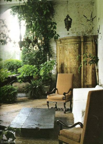 Axel-Vervoordt-Garden-in-a-Living-Room  25 Beste Interior Design Projekte von Axel Vervoordt Axel Vervoordt Garden in a Living Room