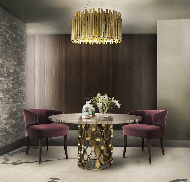 Samt, Holz und Messing. Die perfekte Designmaterial Kombination BB Dining Room 2